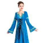Средневековое платье голубое