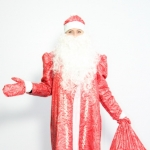Дед Мороз парча красный